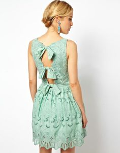 Skater Dress In Broderie With Bow Back