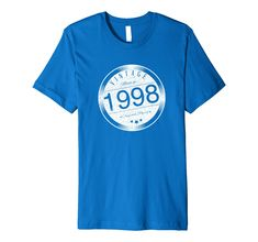 20th Birthday Vintage Made in 1998 T-Shirt  - Makes the perfect birthday gift for anyone born in January 1998, February 1998, March 1998, April 1998, May 1998, June 1998, July 1998, August 1998, September 1998, October 1998, November 1998, or December 1998! For son, daughter, brother, sister, uncle, aunt, friend, nephew, niece, cousine...