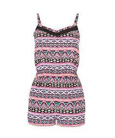 Pink Pattern (Pink) Teens Pink Aztec Sweetheart Stripe Playsuit | 276667779 | New Look