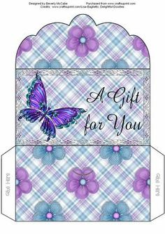 BUTTERFLY MONEY WALLET on Craftsuprint designed by Beverly McCabe  - Here is a lovely money wallet, suitable for many occasions. This wallet is perfect for the gals in our lives and is sure to create smiles! - Now available for download!