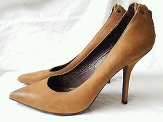 Vera Wang Brown Leather pumps pointed toe heels with zipper size 8.5