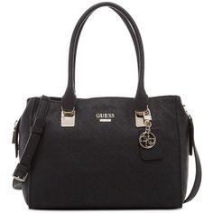 Guess Shantal Satchel ($128) ❤ liked on Polyvore featuring bags, handbags, black, guess purses, satchel bag, handbag satchel, satchel style purse and hardware bag