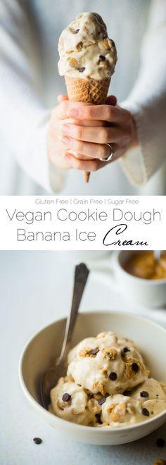 Vegan Cookie Dough Banana Ice Cream - This simple, vegan banana ice cream recipe has chunks of cookie dough! You'll never believe it's a healthy, gluten, dairy, and refined sugar free summer treat! | http://Foodfaithfitness.com | /FoodFaithFit/