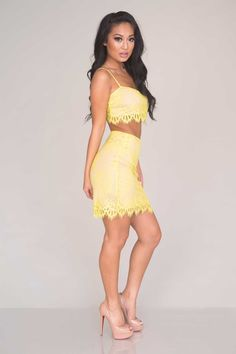Sweet Notions Lace Two Piece - Yellow - Two Piece - Dresses - Clothing