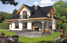 Ariadna I - Dobre Domy Flak & Abramowicz Bungalow Haus Design, Modern Bungalow House, Simple House Design, Modern House Design, Micro House, My House, Garage House, Style At Home, House Design Pictures