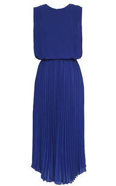 Blue Sleeveless Back Split Belt Pleated Dress