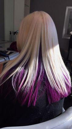 Pink Blonde Hair, Blonde Dye, Platinum Blonde Hair, Purple Hair, Pink Purple, Underdye Hair, Dye My Hair, Hair Color For Black Hair, Cool Hair Color
