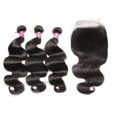 3 Bundles Malaysian Body Wave With 13x4 Pre Plucked Lace Frontal With Baby Hair With 100% Human Hair Non Remy Ali Sky Black 1b Products Are Sold Without Limitations Hair Extensions & Wigs