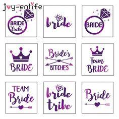 JOY-ENLIFE 1pcs Purple Flash Team Bride Temporary Waterproof Tattoo Wedding Party Bachelor Party Bridesmaid Supplies Photo Props #Affiliate
