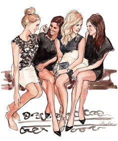Girls Friends drawing, illustration/ Art by #Inslee Haynes
