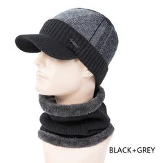 89e06e815 New Arrival Winter Hat&Scarf Set 2 Piece For Men Thick Knitting Hat Wide  Brim Ring Scarves Male Patchwork Beanies Hat. Scarf Hat, Beanie Hats ...