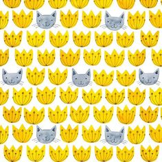 I made Flower Cats into a repeating pattern today. And in different color ways…