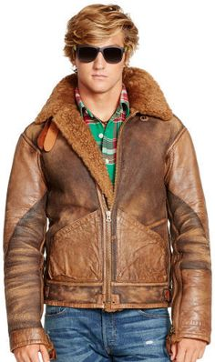 $1,995, Brown Leather Bomber Jacket: Polo Ralph Lauren Shearling Bomber Jacket. Sold by Ralph Lauren. Click for more info: https://lookastic.com/men/shop_items/90322/redirect
