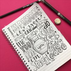 I pick my poison and it's you, nothing can kill me like you do. Lyrics Rita Ora. Love relationship sketch sketchbook doodle lettering calligraphy drawing.