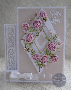 """Hello everyone, DT samples for Tattered Lace """"Raspberry Roses Collection"""" Launching on Create and Craft TV. Birthday Card App, Create And Craft Tv, Art Deco Cards, Tattered Lace Cards, Shabby Chic Cards, Shaped Cards, Fun Fold Cards, Beautiful Handmade Cards, Quilling Designs"""