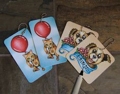 Cute Dog and Cat Gift Tags  Hand Made Gift Tags by ArtByIsadora, #etsymnttsc