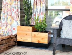Contemporary Modern Wood Box Porch Planter