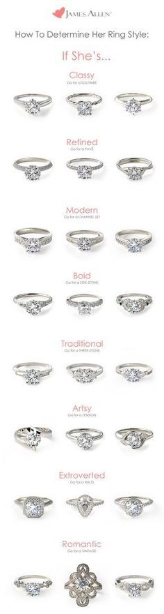 What type of engagement ring suits her best? This doesn't need to be a guessing game :-) Browse 100,000+ certified diamonds and engagement rings in 360° HD, and design the perfect ring on JamesAllen.com.