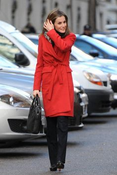 Queen Letizia on her way to a meeting with the Spanish Association Against Cancer.