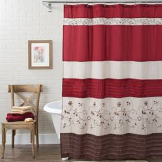 Better Homes And Gardens Floral Embroidered Shower Curtain, 72