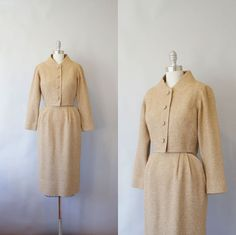 1950s Claire McCardell wool suit / vintage 50s designer skirt suit / Town & Country. Wowza.