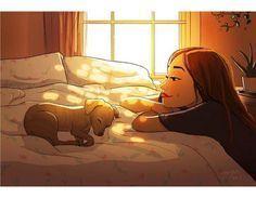 Art And Illustration, Illustrations, Illustration Animals, Girl And Dog, Cartoon Art, Cute Drawings, Dog Love, Cute Art, Art Girl