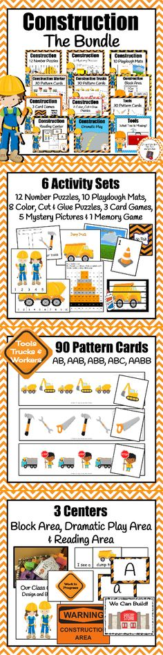 Looking for construction activities to add to your preschool classroom? This bundle includes 12 construction themed activity/center sets! 3 Card Game, Construction Theme Preschool, Preschool Classroom, Classroom Ideas, Block Area, Dramatic Play Area, Card Patterns, Activity Centers, Easy Workouts