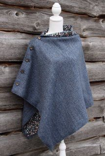 A lovely dark denim blue poncho has been lined with a fun cotton print to give this great wardrobe staple. A must for the winter. African Print Fashion, African Fashion Dresses, Fashion Outfits, Diy Clothing, Sewing Clothes, Poncho Design, Cape Designs, African Blouses, Denim Ideas