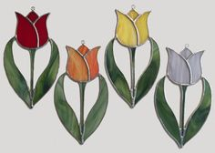 Handmade Stained Glass Tulip Suncatcher by QTSG on Etsy