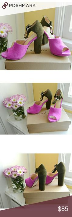 "Stunning Cole Haan Magenta & Olive Suede Heels These are rare Cole Haan Chelsea suede heels in a size 8. The heel measures 4.5"". They are a gorgeous pink-orchid and fatigue-green, featuring open ties and an ankle strap. I've only tried them on; they're brand new in their box. Enjoy! Cole Haan  Shoes Platforms"