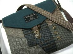 Crossbody Purse iPhone pocket, Recycled mens suit coat ,  teal brown plaid wool, Eco Friendly, Ready To Ship