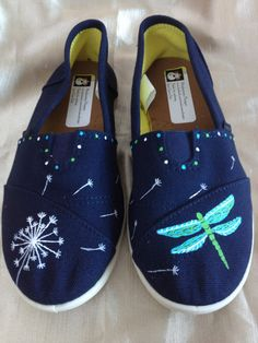 Hand Painted Cherry Blossom, Dragonfly, Dandelion, or Bird Shoes - Monkeymou designs hand painted items - Painted Canvas Shoes, Painted Vans, Painted Sneakers, Hand Painted Shoes, Bird Shoes, Painting Leather, Painting Shoes, Vans Shoes, Shoes Sneakers