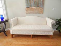 Linen Slipcover On Camelback Sofa Furnishings And Decor
