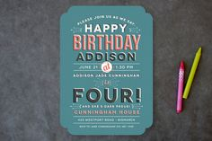 Layered Vintage Children's Birthday Party Invitations by Lacie Schoch at minted.com