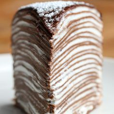 Mille Crepe Cake Recipe by Tasty Chocolate Crepes with Whipped Cream Layers & Chocolate Ganache Just Desserts, Delicious Desserts, Layered Desserts, Chocolate Crepes, Crepe Cake Chocolate, Chocolate Ganache, Chocolate Desserts, Nutella Crepes, Nutella Cake