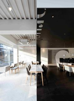 Coco bruni cafe by Betwin Space Design, Seoul.... play with black vs white backdrop...