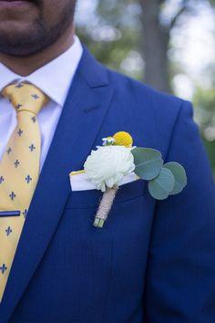 Spring boutonniere idea - silver dollar eucalyptus, craspedia and roses {Cynthia Shipp Photography} Plaid Wedding, Wedding Suits, Wedding Attire, Church Wedding, Our Wedding, Baby Baptism, Silver Dollar, Engagement Couple, Grooms