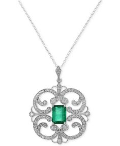 Brasilica by Effy Emerald (1-3/8 ct. t.w.) and Diamond (5/8 ct. t.w.) Pendant Necklace in 14K White Gold