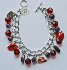 CLEARANCE SALE  Red Hat Society Charm Bracelet by NoCrybabies, $15.00