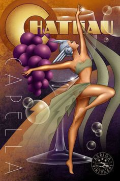 Art-Deco-Wine-Sirens-by-M-Kungl-Chateau-Capella