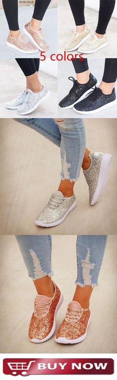 6d00e32caa146e 51% off Women New Flat Bottom Sequins Casual Large Size Shoes Große Grössen  Schuhe