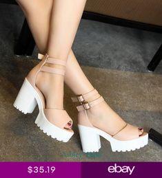 Women shoes Pumps Stilettos - Women shoes High Heels Boots - Women shoes Loafers Slip On Chunky Shoes, Chunky High Heels, Chunky Sandals, High Heels Plateau, Frauen In High Heels, Open Toe Sandals, Beach Sandals, Heeled Sandals, Sandal Heels