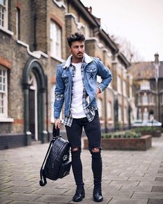Dope Fashion, Latest Mens Fashion, Denim Fashion, Urban Fashion, Fashion Outfits, Fashion Menswear, Street Fashion, Ripped Jeans Men, Dark Jeans