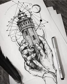 hands lighthouse realism black pattern drawing pen wavy lines minimalism