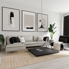 Most wanted trio right now😄 Neutral colors and abstract designs that will fit most styles👌🏼 Decor Home Living Room, Living Room Modern, Interior Design Living Room, Living Room Designs, Small Apartment Living, Condo Living, Home Room Design, Living Room Inspiration, House Rooms