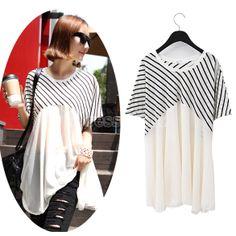 New Women Fashion Casual Stripe Short Batwing Sleeve Loose Chiffon Blouse Tops