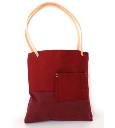 Red & Burgundy Canvas BTN Tote | Minimal and classic, the BTN denim tote has structured details... | Tote Handbags