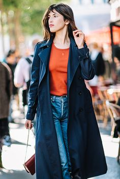 Jeanne Damas Paris Fashion week - Navy Trench and Blue Jeans