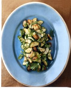Zucchini with Roasted Almonds and Zucchini Bread Croutons