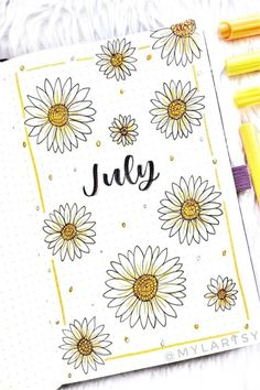 If you want to add a super cute floral theme to your bullet journal spreads this month, check out these daisy monthly covers, habit trackers, weekly spreads and more for new ideas / inspiration! Bullet Journal Paper, Bullet Journal Month, Creating A Bullet Journal, Bullet Journal Cover Ideas, Bullet Journal Quotes, Bullet Journal Lettering Ideas, Bullet Journal Notebook, Bullet Journal Aesthetic, Bullet Journal School